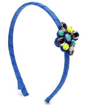 Addon Hair Band Beads Work - Blue