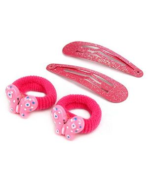 Addon Hair Clip With Rubber Band - Pink