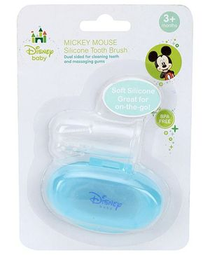 Disney Baby Silicone Finger Tooth Brush With Case -  Blue