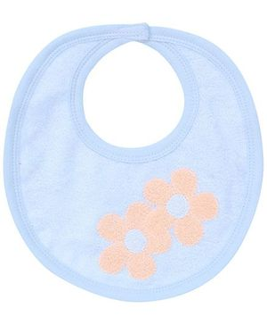 Child World Velcro Bib Light Blue - Floral Print