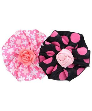Stol'n Flower Shape Hair Clips Pink And Black - Set of 2