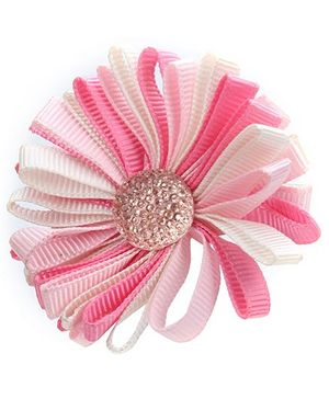 Stol'n Flower Shape Hair Clip Pink And White - Diamond Design