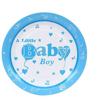 Birthdays & Parties Plates Baby Boy Print - 10 Pieces
