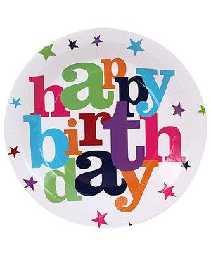 Birthdays & Parties Plates Happy Birthday Print - 10 Pieces