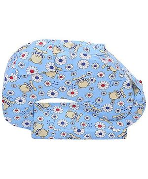 Babyhug Feeding Pillow Floral And Checks - Blue