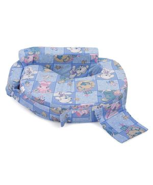 Babyhug Feeding Pillow Rabbit Print - Blue