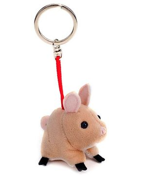 Trudi Key Ring Plush Piggy - Brown