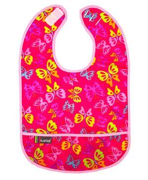 Kushies Baby Taffeta Waterproof Bib Butterfly Print - Pink
