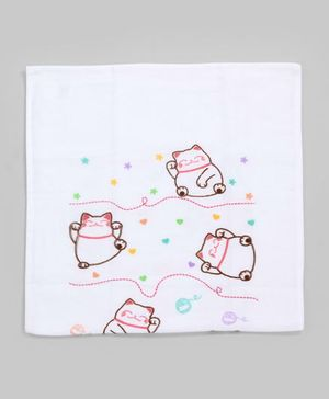 White & Pink Little Kitty Diaper Cloth