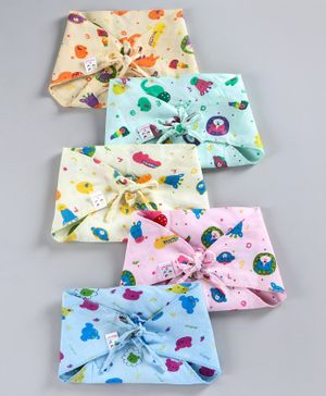 Tinycare Triangle Cloth Nappy Printed Medium - Pack Of 5