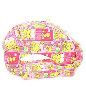 Babyhug Feeding Pillow Teddy In Parachute - Pink And Yellow