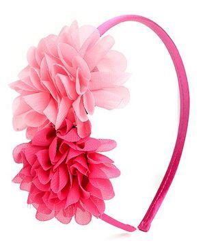 Hopscotch Hair Band Chiffon Flower Applique - Pink