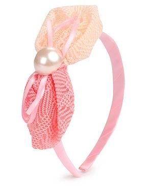 Hopscotch Hair Band Pearl on Crochet Bow - Pink
