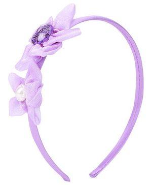 Barbie Hair Band Purple - Floral Applique