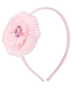 Barbie Hair Band Pink - Floral Applique