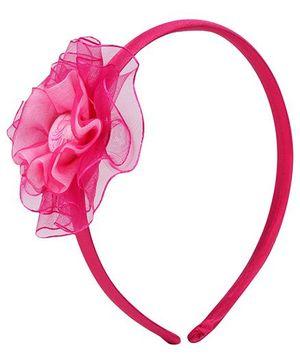 Barbie Hair Band Dark Pink - Floral Applique