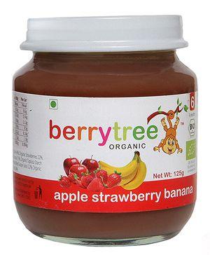 berrytree Apple Strawberry And Banana Organic Puree - 125 gm