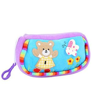 Fab N Funky Baby Pouch Purple And Blue - Baby Bear Embroidery