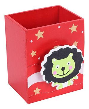 Fab N Funky Wooden Pen Stand Lion Face Design - Red
