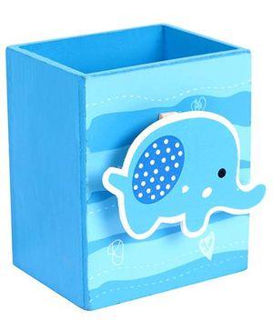 Fab N Funky Wooden Pen Stand Elephant Design - Sky Blue