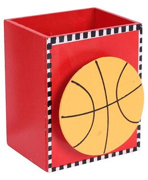 Fab N Funky Wooden Pen Stand Basket Ball Design - Red