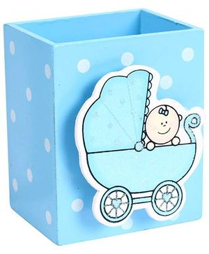 Fab N Funky Wooden Pen Stand Baby In Buggy Design - Blue