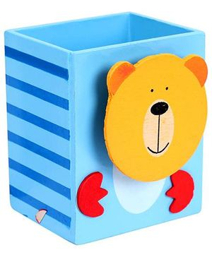 Fab N Funky Pen Stand Bear Face Design - Blue