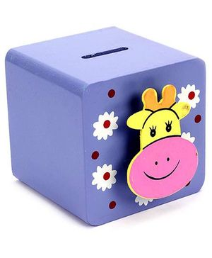 Fab N Funky Wooden Coin Box Violet - Animal Motif