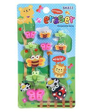 Fab N Funky Eraser Set Bee Design - Green