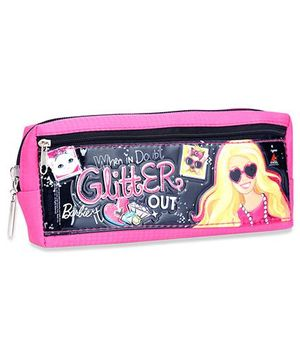 Barbie Pouch Dual Zip Pouch - Pink And Black