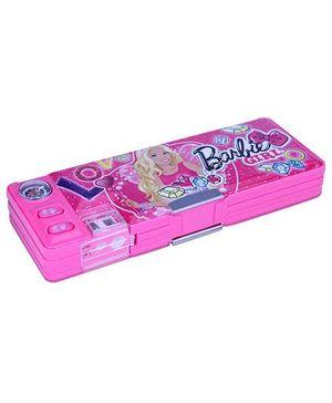 Barbie 2 Button Magnetic Pencil Box - Pink