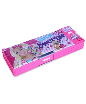Barbie Magnetic Pencil Box With White Board - Pink