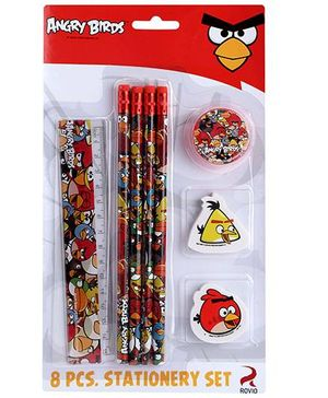 Angry Birds 8 Pieces Stationery Set - Red