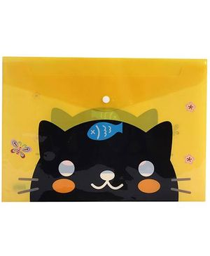 Fab N Funky Envelope Folder Pouch Yellow - Cat And Fish Print