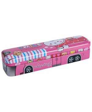 Fab N Funky Pencil Box Bus Design Print - Pink