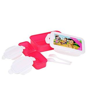 Chhota Bheem Super Lock And Seal Lunch Box - Pink And White