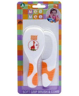 Mee Mee Soft Grip Brush And Comb - Orange