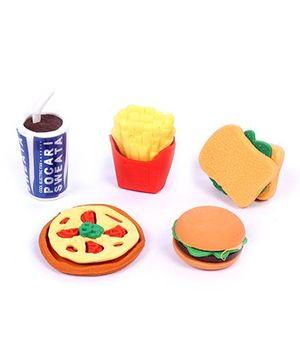 Multi Food Eraser Set Pack of 5 - Multi Color