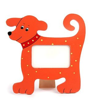 Wooden Photo Frame Stand Dog Shape - Red