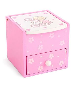 Wooden Stationery Box Baby Design - Pink And White