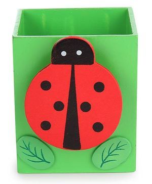Wooden Pen Stand Ladybug Design - Green