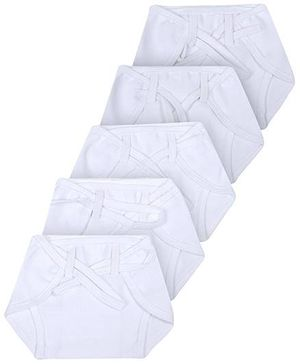 Babyhug Cloth Nappy With String Mini Set Of 5 - White