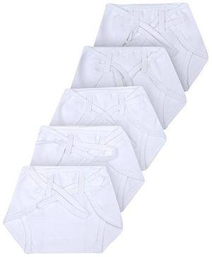 Babyhug Cloth Nappy With String Large Set Of 5 - White