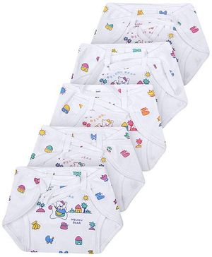 Babyhug Cloth Nappy With String Bear Print Small - Set Of 5