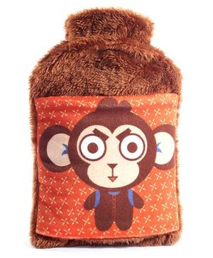 Plush Hot Water Bag Monkey Design - Brown