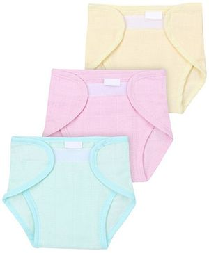 Babyhug Cloth Nappy With Velcro Closure Large Set Of 3 - Solid Colors