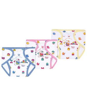 Babyhug Velcro Closure Nappy Large - Blue Pink And Yellow