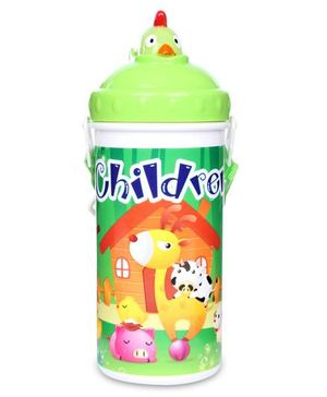 Sipper Water Bottle Children And Giraffe Print 700 ml - Green And White