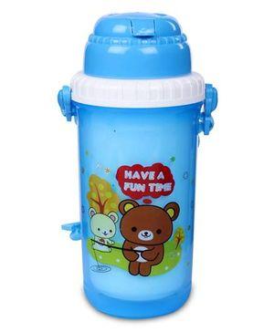 Sipper Water Bottle Teddy Bear Print 350 ml - Blue