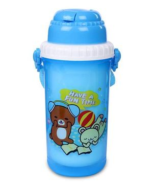 Sipper Water Bottle Teddy Bear Print 350 ml - Blue And Yellow